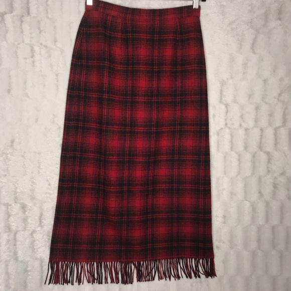 32cb3e592 Woolrich Skirts | Buffalo Plaid Red Black Long Wool Skirt | Poshmark